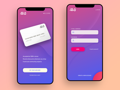 Community Card Mobile App Login Screen gradients mobile app interface mobile login design ui