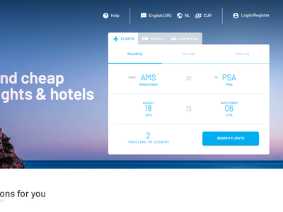 Homepage with Flight Search Form gradients form webdesign design layout interface ui