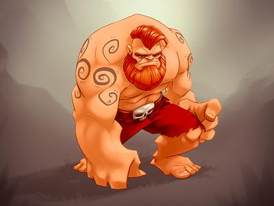 The Beard muscle beard warrior game illustration muscular character godsrule tattoo red unit comic drawing skull hulk cartoon digital painting