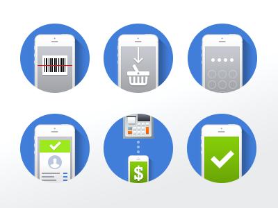 iPhone POS minimal website icons icons app iphone design simple shopping pos web flat barcode cart minimal