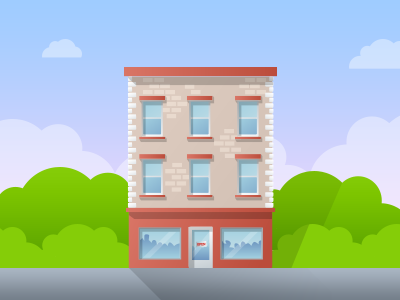 Shop Facade house flat sunset sky shop illustration brick town window facade