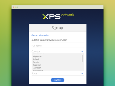 Website Sign up signup input box logo blue dropdown form website paging xps sign up network fields