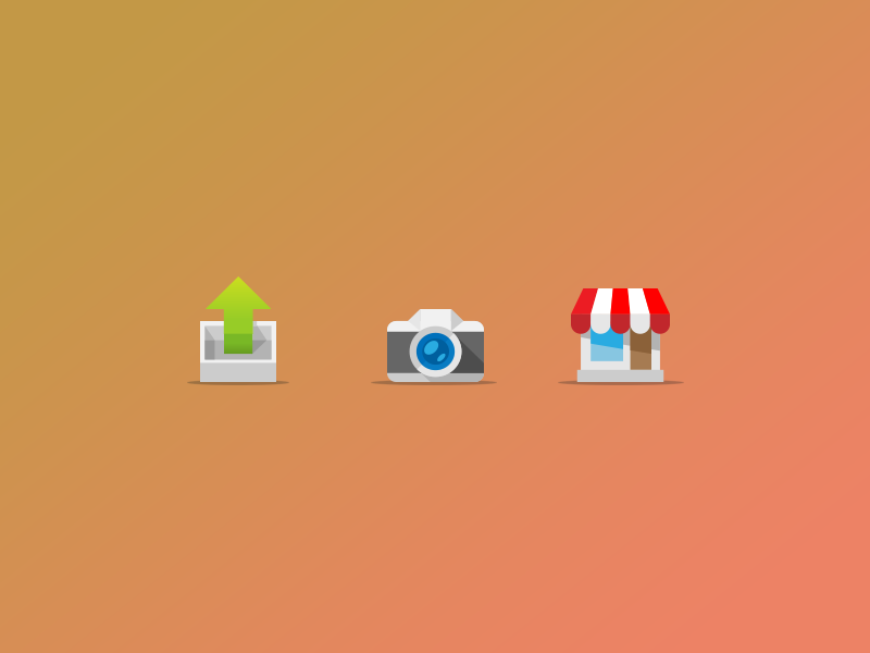 Small icons simple flat icon design illustration camera store share colourful cartoon small