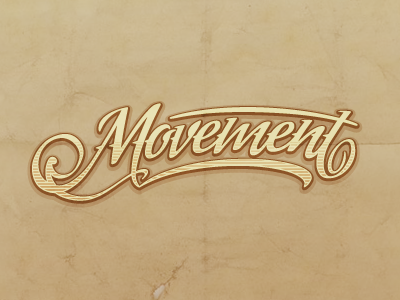 Movement yellow logo typography type movement band retro old paper brown