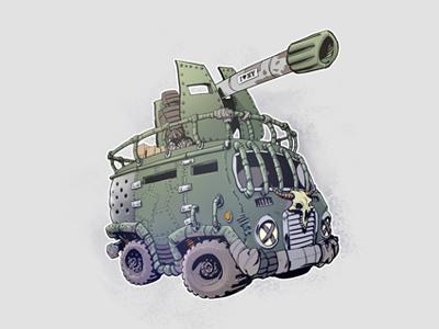 I ♥ NY war illustration drawing sketch comic game vehicle van car gun cannon iron skull mad max phallic sticker green military