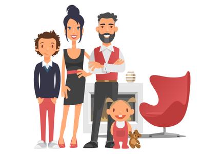 Upper Class Family family posh rich fireplace upper class flat design illustration