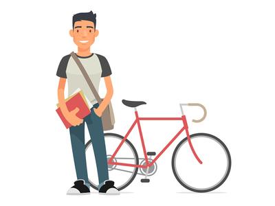 Student svg flat design flat illustration bike illustration student