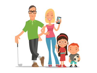 Modern Family flat design svg vector golf modern simple family drawing illustration