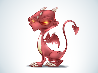 The Pet dragon pet red wings claws scales tail animal fantasy illustration game horns drawing glow face cute inks sketch character isolated cartoon comic