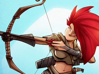 The Ranger girl woman cartoon comic illustration bow arrow archer blue red color bellybutton glove shoot tounge hair elf famale character game game art concept art