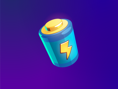 Battery icon ui game icon battery juice vector fuel lightning energy illustration game art game icon