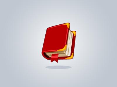 Abracadabra book icon red bookmark cartoon spellbook reading game wizards vector