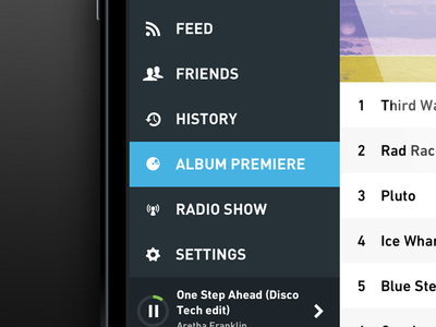 Hype Machine iOS app sidebar  icons ui design ios hypemachine music player radio iphone app application sidebar