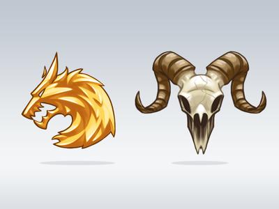 Clan Emblems game emblems skull ram animal wolf gold clans icons cartoon illustration goat