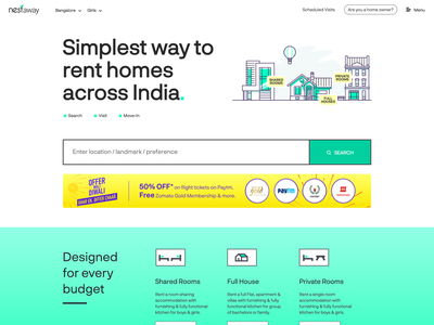 Nestaway Home tenant owner diwali budget nav bar illustration private room ad banner search home page design home page rent real estate agency house home property nestaway real estate