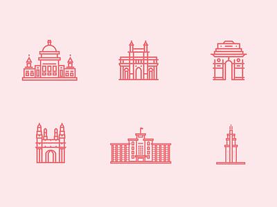 Indian Cities design illustration icon ui brand branding icons cities bangalore bengaluru pune chennai mumbai hyderabad delhi