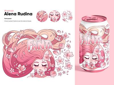 Fanta Peach (concept) original character art fanta character desing peach lemonade cute girl soda illustration logo design