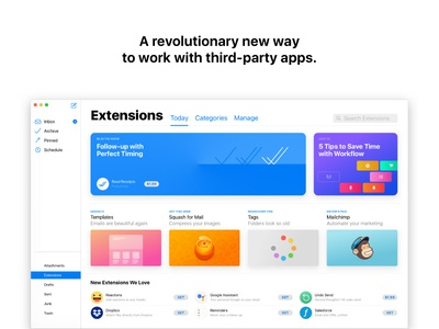 Concept: The new macOS Mail - Extensions mac macos mail gmail icloud apple email third-party apps google assistant mailchimp extensions