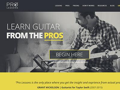Pro Lessons Web Design music concept web design website