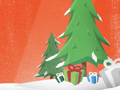 Christmas Tree and Gifts Illustration snow christmas christmas tree tree presents gifts illustration