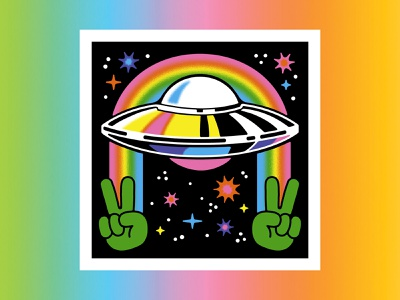UFO Art Print illustration rainbow color aliens