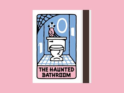 Haunted Bathroom Matchboxes illustration drawing souvenir matchbox