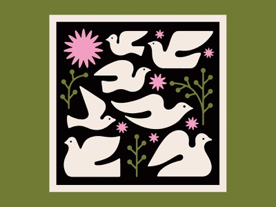 Doves Print illustration mid century screenprint