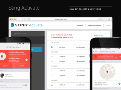 Sting Activate first responders ui design desktop android ios