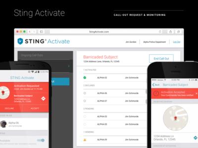 Sting Activate first responders ui design desktop android ios