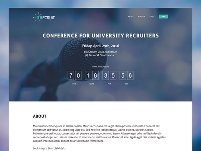Annual Conference Landing Page mobile website flat conference recruiters visual design product page landing page ui university