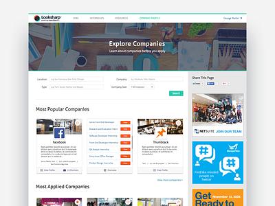 Company Explore Page web design visual design redesign ux ui product company explore landing page landing
