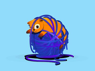 Oops, I messed up. Now What? designer vector illustration orange purple creative design creative animal pet illustrator illustrations digital illustration yarn cats cat vector designmnl illustration artwork creatives design