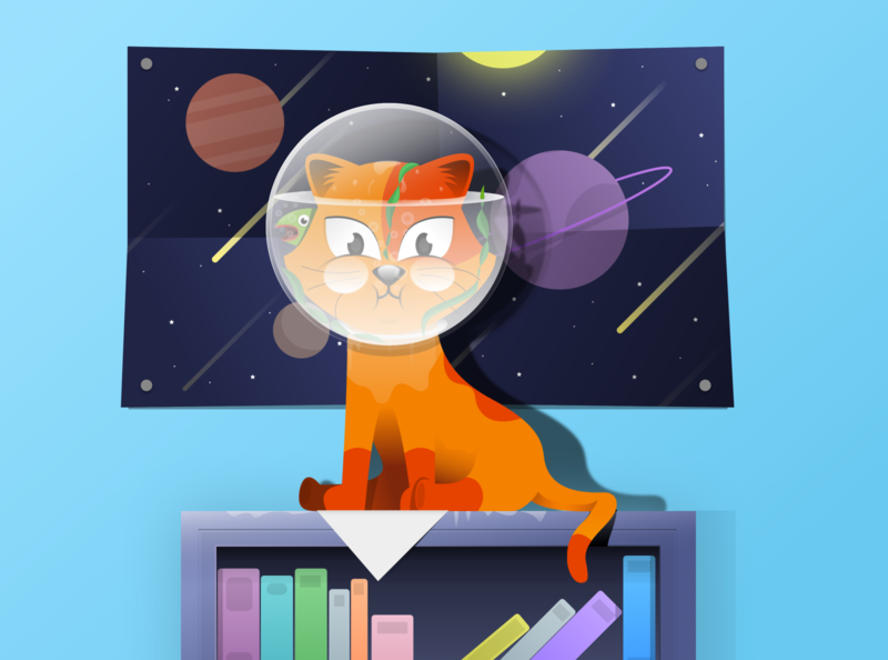 I messed up again! Non-stop curiosity is my expertise. cat illustration space playful room animal illustration illustrator design digital illustration pets pet animal animals cats cat portfolio vector creative illustration artwork creatives design