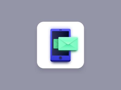 SMS marketing icon (Big Sur style) vector icons vector icon app icons app icon big sur icon big sur marketing sms marketing mail phone chat text sms icon design iconography icons icon vector design