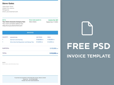 FREE PSD Invoice Template By DesignMNL Dribbble - Free download of invoice template gucci outlet store online