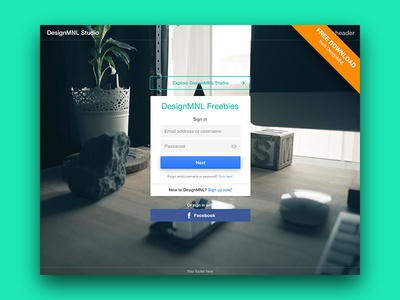 Free Log In Template PSD