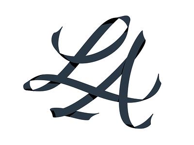 LA Ribbon monogram typography lettering custom ribbon