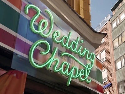 Wedding Chapel for 7-Eleven typography sign lettering neon
