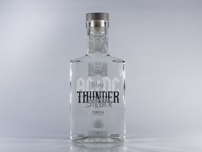 ACDC ThunderStruck Tequila Silver label design typography tequila packaging illustration gold black acdc