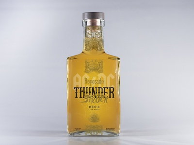 ACDC ThunderStruck Tequila Reposado label design typography tequila packaging illustration gold black acdc