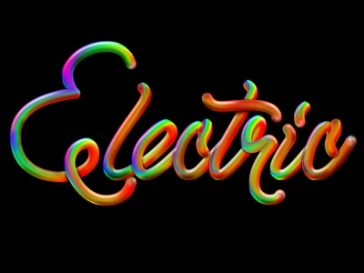 Electric bubbly 3d dimensional vibrant type script color typography
