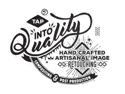 Tap Into Quality version 1 mark vector stipple vintage typography