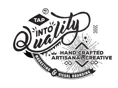Tap Into Quality version 2 mark vector stipple vintage typography