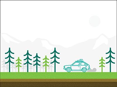 Roadtrip simple illustrator green vector line art