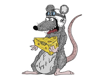Malicious Mouse mouse line art cheese illustration vector