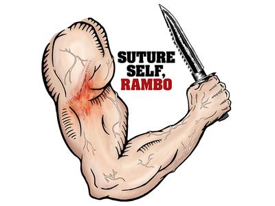 Suture Self Rambo rambo knife blood photoshop illustration