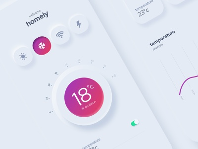 mobile app controller newdesigns uxui trends 2020 trends application app neon systems clean ui remote control effects appdesigns mobileapps controllers temperature graphic neumorphism neumorphic figmadesign figma