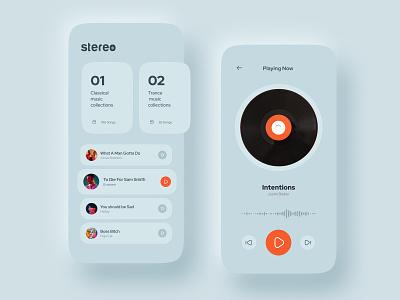 Stereo Soft UI interface figma minimalist logo minimal minimalist app music animation uxui typography web mobile softui clean design clean