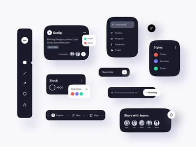 Figma UI Kits - Dark Mode clean ui designer uxui website mobile web guideline uikits minimal simple figma design figmadesign figma