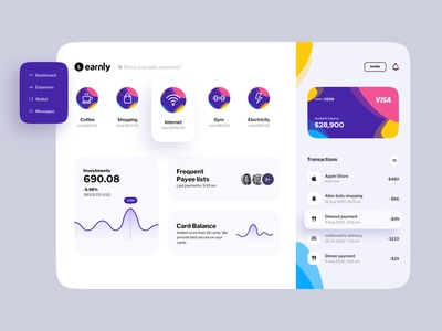 Earnly dashboard daily ui dashboard app money application design web application investments payments finance app finance application app design dark app tracking app tracker expense expenses dashboard template dashboard design dashboard ui dashboard